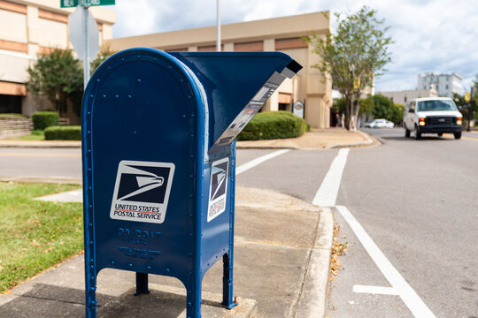 United States Postal Service collection box in downtown Hattiesburg, MS