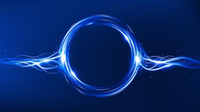 Energy flow. Magic frame. Light effect. Vector illustration