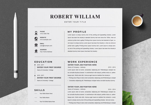 Resume Layout with Black and White Accents