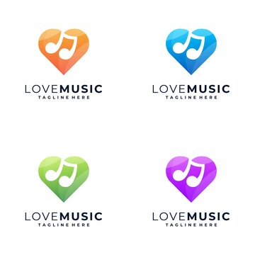 awesome colorful love music logo design,