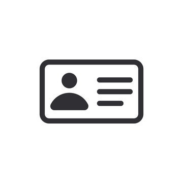 Identification card icon. Car driver. Profile icon. Id card. Avatar icon. Driving license. Personal document. Business card sign. Id passport. Worker's pass. Passport icon. Ui elements.