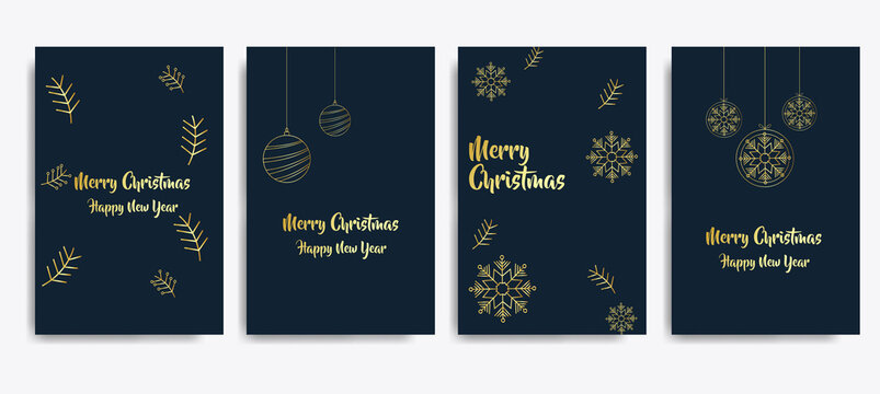 Set of card Merry Christmas and Happy New Year. Christmas tree, silver glass balls, stars, sequins and elegant lettering. vector illustration