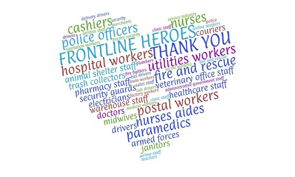 Colorful tag cloud in the shape of a heart naming essential workers and thanking the frontline heroes during the Coronavirus pandemic