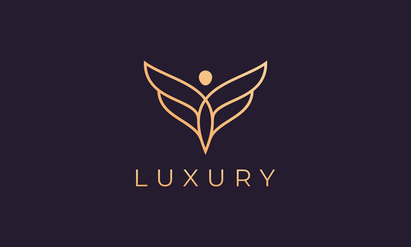 winged and gold colored human figure logo template
