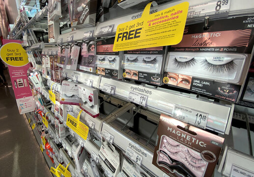 Fake eyelashes are pictured at a Walgreens store during the outbreak of the coronavirus disease (COVID-19) in Pasadena