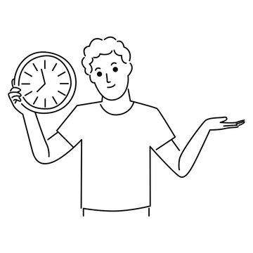 Man holding clock in his hands