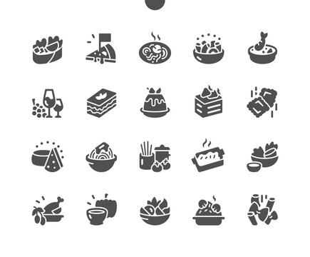 Italian cuisine. Oriental italian food. Pasta with mushrooms, cheese, rukkola and cherry tomatoes. Mediterranean culture. Menu for restaurant and cafe. Vector Solid Icons. Simple Pictogram