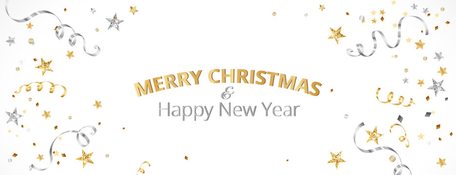 Christmas banner with decoration. Falling confetti, festive border. Celebration golden and silver frame. For New Year and winter holiday banners, headers, party flyers. Vector illustration.