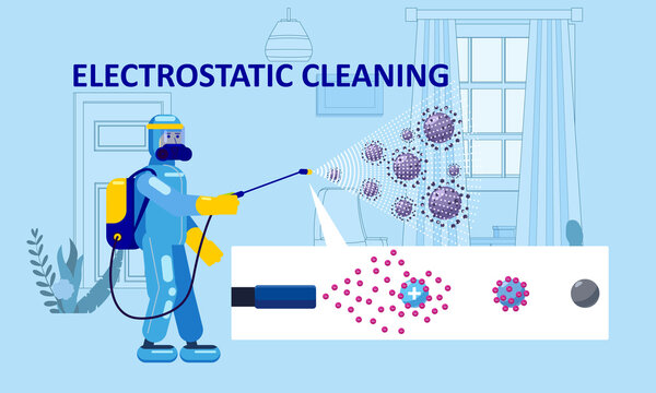 Electrostatic Disinfection Cleaning service. Man dressed in uniform in a special suit with equipment with electrostatic spray conducts disinfection in the living room. Vector illustration in a flat