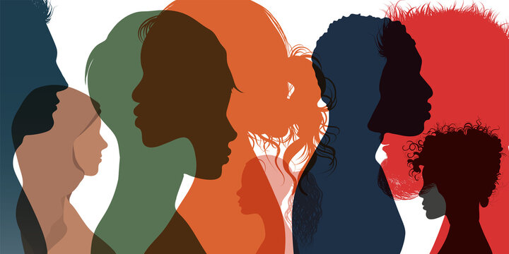 Silhouette profile group of men women and girl of diverse culture. Diversity multi-ethnic and multiracial people. Racial equality and anti-racism. Multicultural society. Friendship