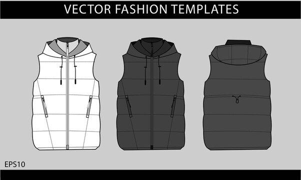 sleeveless jacket isolated.  vest fashion illustration. winter jacket front and back view