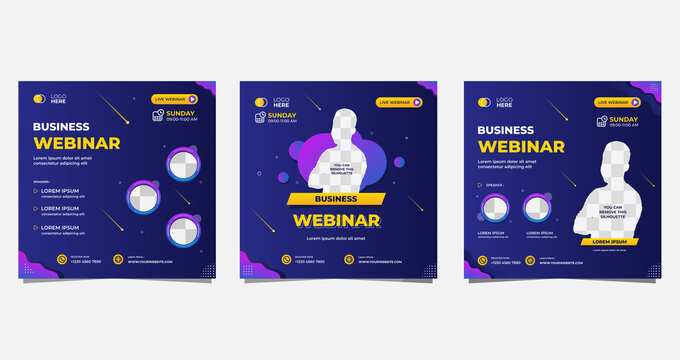 Collection of social media post templates. Vector graphics of dark blue and purple background, perfect for business webinars