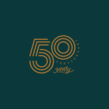 50 years anniversary pictogram vector icon, 50th year birthday logo label.