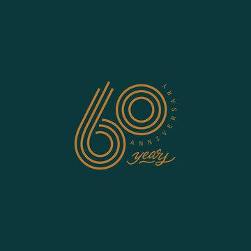 60 years anniversary pictogram vector icon, 60th year birthday logo label.