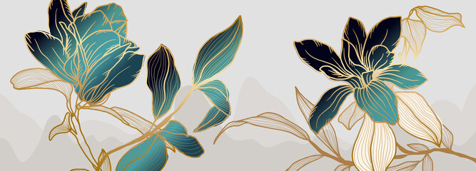 Fototapeta Luxury green and white magnolia flower background vector with golden metallic decorate obraz