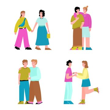 Set of lesbian and gay couples spending time together. Pride month pictures of lgbt love and support, flat cartoon vector illustration isolated white background