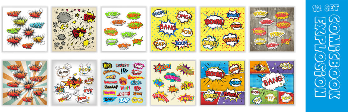 Comic book explosion, Comic speech bubbles or sound replicas for kaboom explosion, crash and wham, oops and oh, pow and boom bomb, Emotions for comics speech bubble bang and cool, oh or ooh.