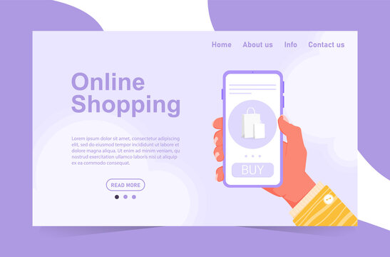 Concept of online shopping without leaving home. Order food and clothes from a smartphone. Purple phone in a hand with a yellow sleeve. Stock template for website and application design.