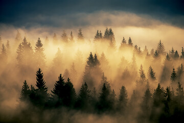 foggy mountain landscape with fir forest. vintage retro hipster style