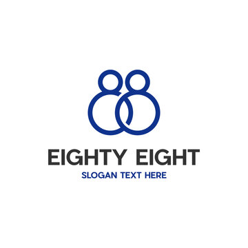 Eighty Eight Number Digit Modern Abstract Creative Business Logo