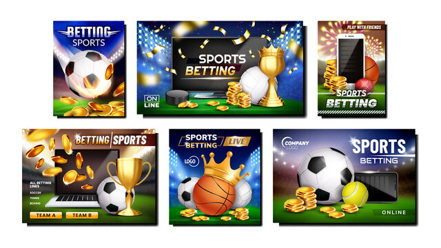 Betting Sports Promotional Posters Set Vector. Tennis And Soccer, Cricket And Basketball, Hockey And Volleyball Betting Sportive Games Advertising Banners. Style Color Concept Template Illustrations