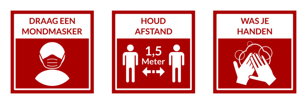 Square Warning Signs in Dutch Showing a Basic Set of Measures against the Spread of Covid-19 including Wear a Face Mask, Keep Your Distance 1,5 Meters and Wash Your Hands. Vector Image.