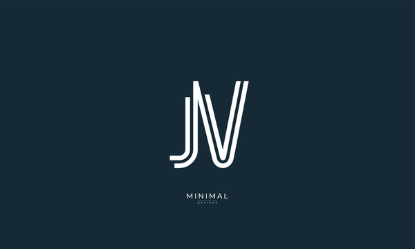 Alphabet letter icon logo JV