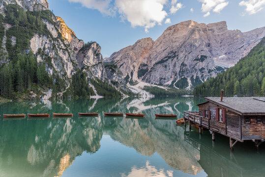 Lake Braies (Lago di Braies or Pragser Wildsee) in Dolomites, South Tyrol, Italy