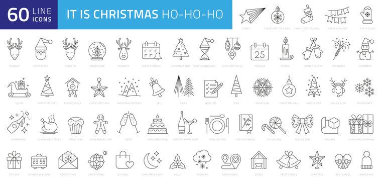 Christmas line web 60 icons set on white background