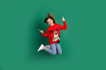 Full length photo of pretty funny active lady jump high fingers horns x-mas concert carol songs...