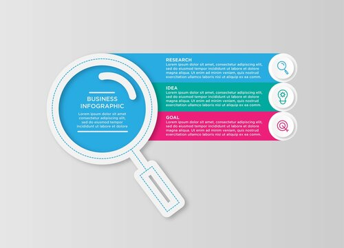 Infographics in the form of flat magnifying glass. Pie chart, graph, diagram with 3 steps, options, parts, processes. Vector business template.