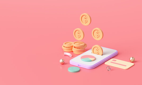 3D render Online money transfer payment, Secure online payment and mobile banking concept. 3D illustration