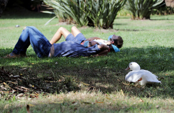 Students, wearing protective face masks, lie on the grass at the Universite Cote d'Azur in Nice