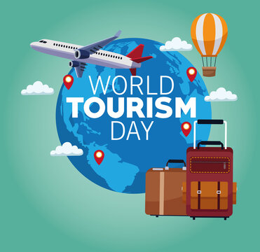 world tourism day lettering celebration with earth planet and set icons