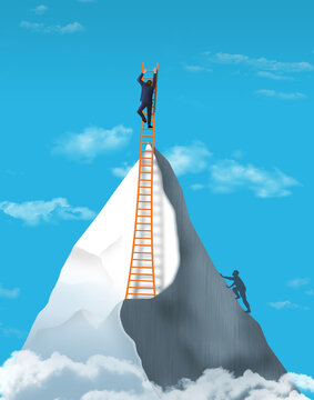A man climbs to a  mountain peak in this 3-D image then goes even higher using a ladder. Illustrates over achievers who exceed expectations.
