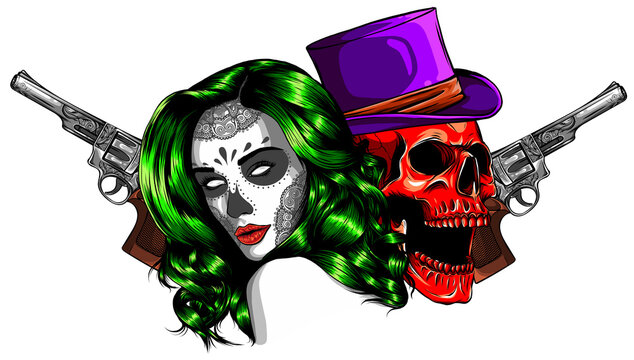 beautiful gangsta girl and skull vector illustration