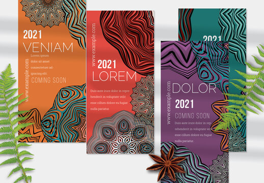 Flyer Layout with Ethnic Mandala Lace Flower Elements