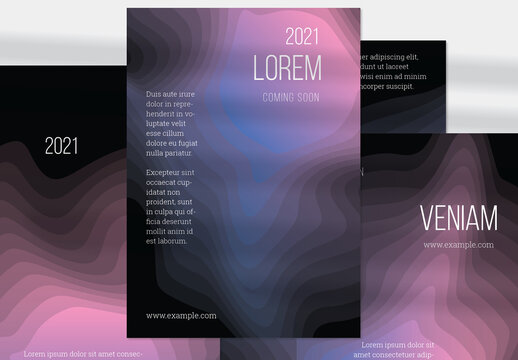 Flyer Layout with Gradient Blend Wavy Shapes on Black