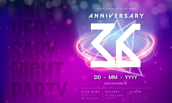36 years anniversary logo template on purple Abstract futuristic space background. 36th modern technology design celebrating numbers with Hi-tech network digital technology concept design elements.