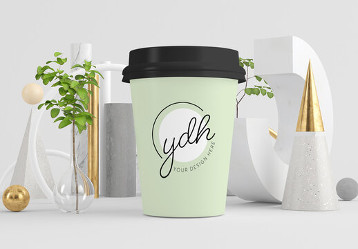 Coffee Cup Mockup on Surreal Abstract Background