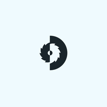 abstract d logo. saw icon