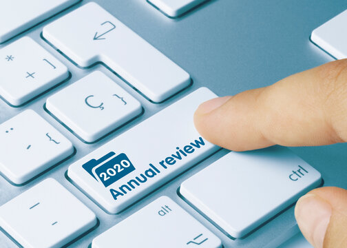 Annual review 2020 - Inscription on Blue Keyboard Key.