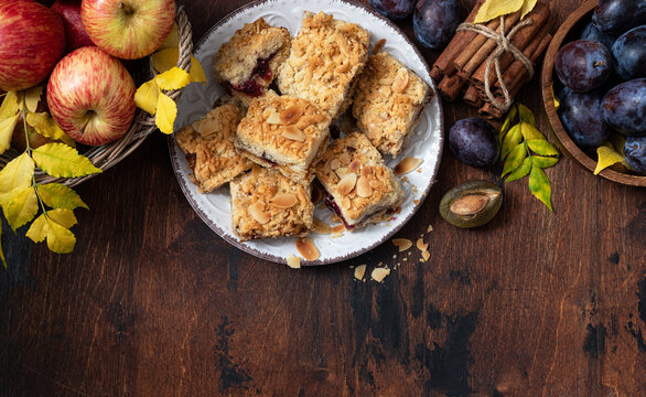 Homemade pie with apple and plum jam