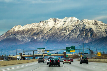 Printed roller blinds Route 66 Provo, Utah, Interstate Highway 15 in Provo, Utah with Mt Timpanogos in background