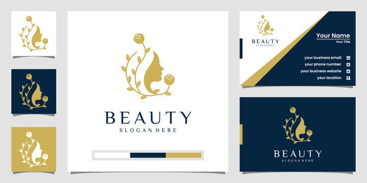 Beautiful woman's face flower star with line art style logo and business card design. abstract design concept for beauty salon, massage, magazine, cosmetic and business card