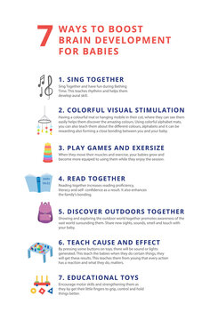 Informational vector poster or banner 7 way to boost baby brain development