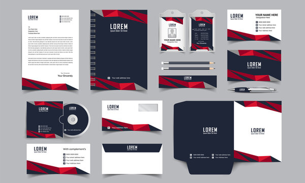 corporate identity template with digital elements. Vector company style for brand book and guideline.