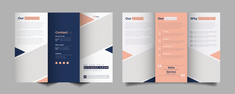 Corporate business trifold brochure template. Modern, Creative and Professional tri fold brochure vector design. Simple and minimalist promotion layout