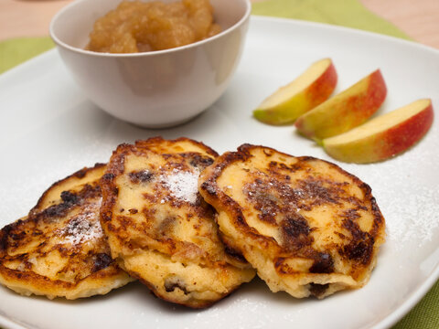 German cottage cheese pancakes with applesauce