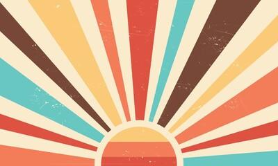 Fototapeta Vintage sun retro banner background. Colourful grunge sunburst. Vector illustration. obraz